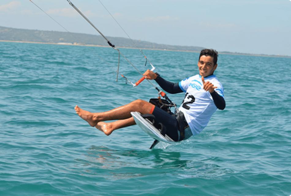 Axel Mazella heureux de navoguer lors du Engie kite tour 2019